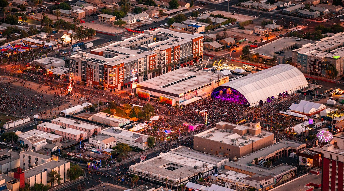 Aerial Shot of the Fremont Stage during Life is Beautiful 2019